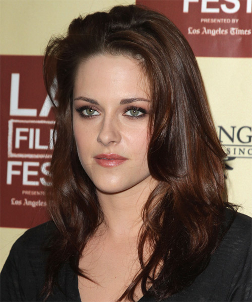 Kristen Stewart Long Straight Casual    Hairstyle   - Dark Brunette Hair Color - Side on View