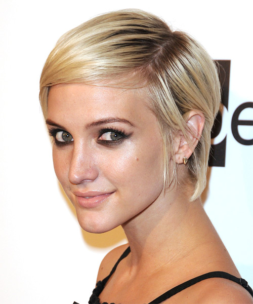 Ashlee Simpson Short Straight Casual    Hairstyle   - Light Blonde Hair Color - Side on View