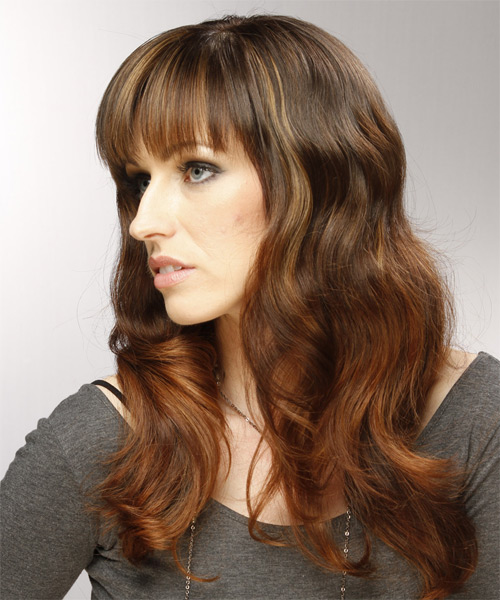 Long Wavy Casual   Hairstyle with Blunt Cut Bangs  - Medium Brunette (Auburn) - Side on View