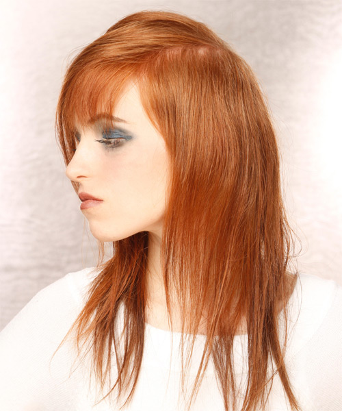 Long Straight Casual   Hairstyle with Asymmetrical Bangs  - Light Red - Side on View