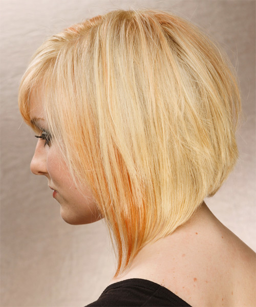 Medium Straight   Light Honey Blonde   Hairstyle with Side Swept Bangs  and Light Blonde Highlights - Side on View