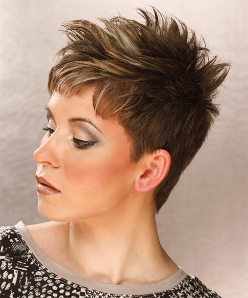 Short Straight Casual    Hairstyle   - Light Ash Brunette Hair Color with Light Blonde Highlights - Side on View
