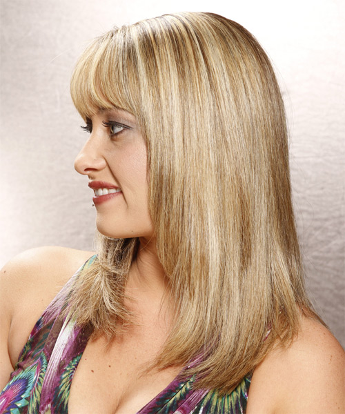 Long Straight Casual   Hairstyle with Blunt Cut Bangs  - Medium Blonde (Golden) - Side on View