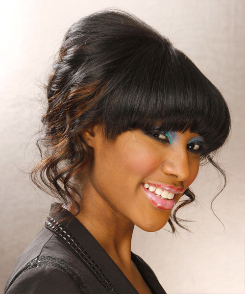 Long Curly Formal   Updo Hairstyle with Blunt Cut Bangs  - Black  Hair Color - Side on View
