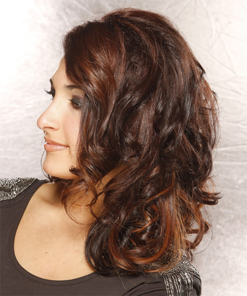 Long Wavy Formal    Hairstyle   - Dark Auburn Brunette Hair Color - Side on View