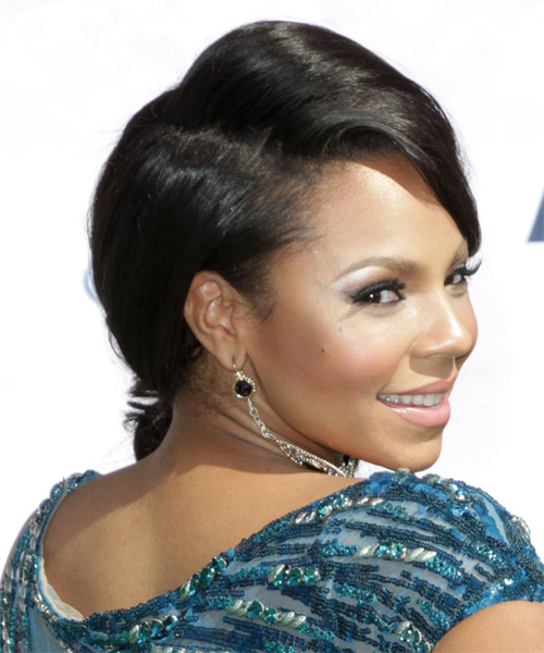 Ashanti Updo Long Curly Formal Wedding Updo Hairstyle with Side Swept Bangs  - Black - Side on View