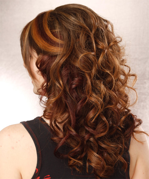 Long Curly   Auburn  Half Up Hairstyle with Layered Bangs  and  Red Highlights - Side on View