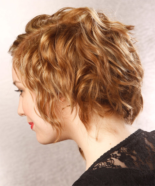 Medium Wavy Alternative   Hairstyle   - Dark Blonde (Golden) - Side on View