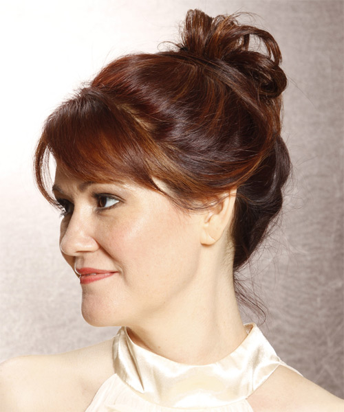 Long Straight   Dark Red  Updo  with Side Swept Bangs  - Side on View