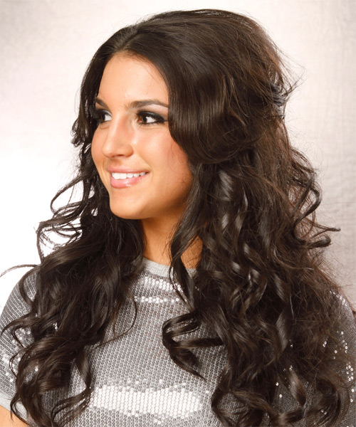 Long Wavy Formal   Hairstyle   - Dark Brunette (Caramel) - Side on View