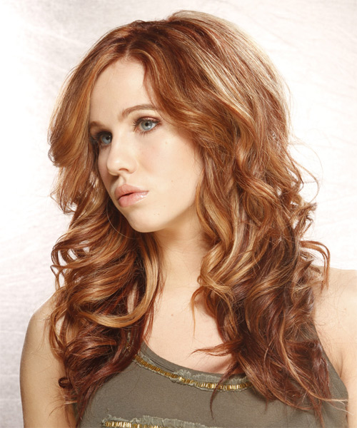 Long Wavy   Light Auburn Brunette   Hairstyle   with Light Blonde Highlights - Side on View