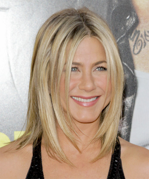 Jennifer Aniston Medium Straight Casual   Hairstyle   - Light Blonde (Champagne) - Side on View