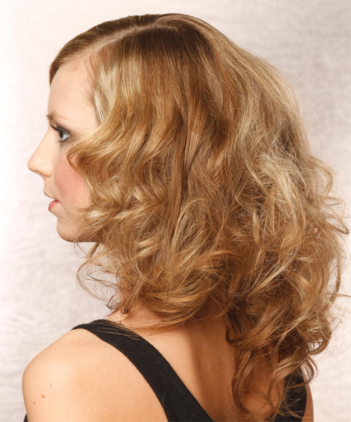 Medium Wavy Layered  Dark Golden Blonde Bob  Haircut   with Light Blonde Highlights - Side on View