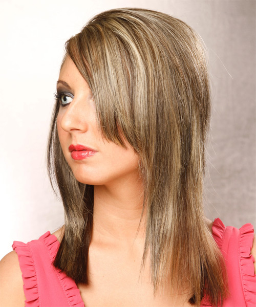 Long Straight Formal   Hairstyle   - Dark Blonde - Side on View