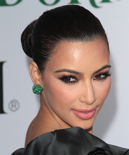 Kim Kardashian Updo Long Curly Formal Wedding Updo Hairstyle   - Black - Side on View