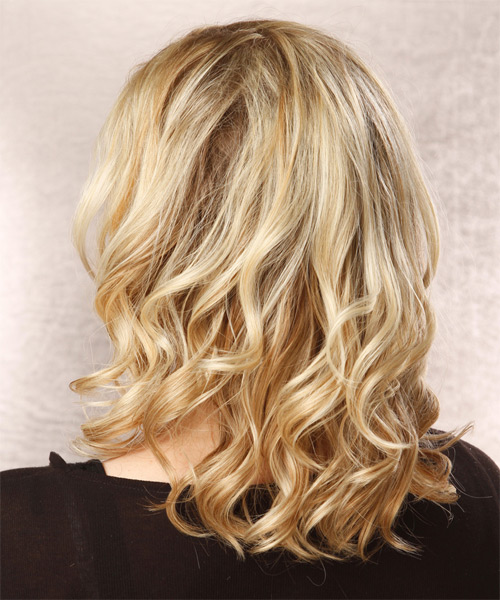 Medium Wavy Casual   Hairstyle   - Light Blonde - Side on View
