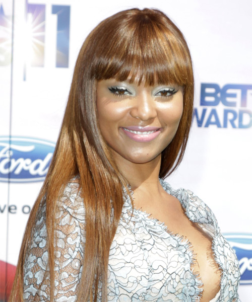 Teairra Mari Long Straight Formal   Hairstyle with Blunt Cut Bangs  - Medium Brunette (Caramel) - Side on View