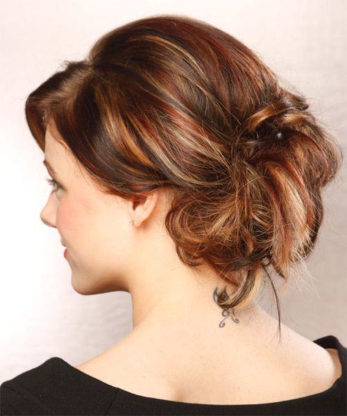 Updo Long Curly Formal  Updo Hairstyle with Side Swept Bangs  - Medium Brunette (Auburn) - Side on View