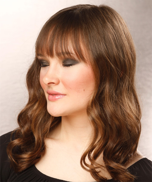 Long Wavy Casual   Hairstyle with Blunt Cut Bangs  - Light Brunette (Chocolate) - Side on View