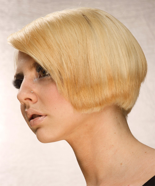 Short Straight Formal Bob  Hairstyle   - Medium Blonde (Golden) - Side on View