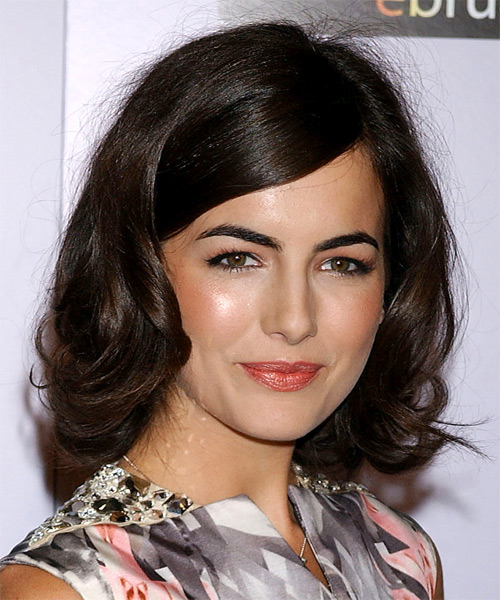 Camilla Belle Medium Wavy Formal    Hairstyle with Side Swept Bangs  - Dark Brunette Hair Color - Side on View