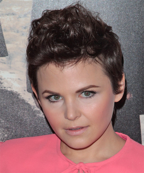 Ginnifer Goodwin Short Wavy Alternative   Hairstyle   - Medium Brunette (Chocolate) - Side on View