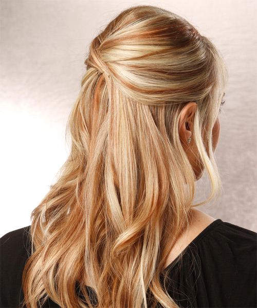 Long Straight Casual   Half Up Hairstyle with Side Swept Bangs  -  Blonde Hair Color with Light Blonde Highlights - Side on View