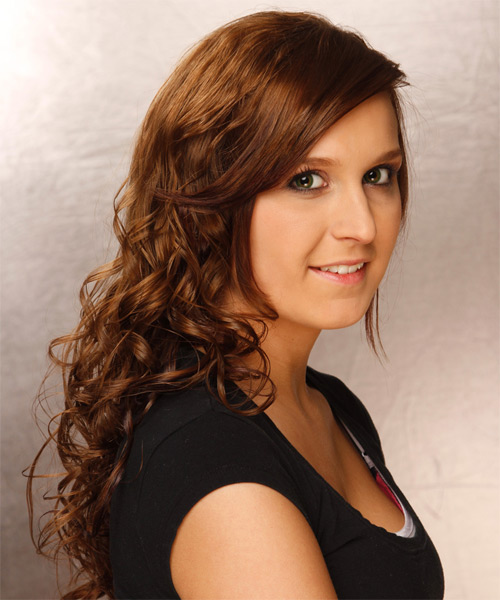 Long Curly    Brunette   Hairstyle with Side Swept Bangs  - Side on View