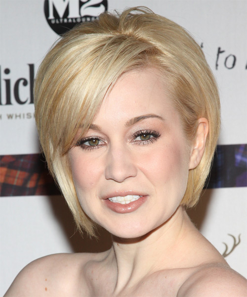 Kellie Pickler Short Straight Formal Bob  Hairstyle with Side Swept Bangs  - Light Blonde (Golden) - Side on View