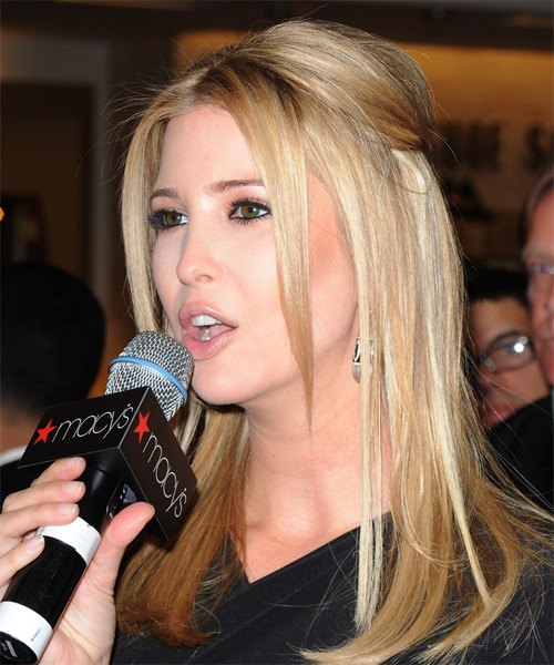 Ivanka Trump Long Straight Formal  Half Up Hairstyle with Layered Bangs  - Medium Blonde - Side on View