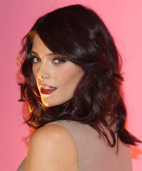 Ashley Greene Medium Wavy Casual    Hairstyle with Side Swept Bangs  - Dark Chocolate Brunette Hair Color - Side on View
