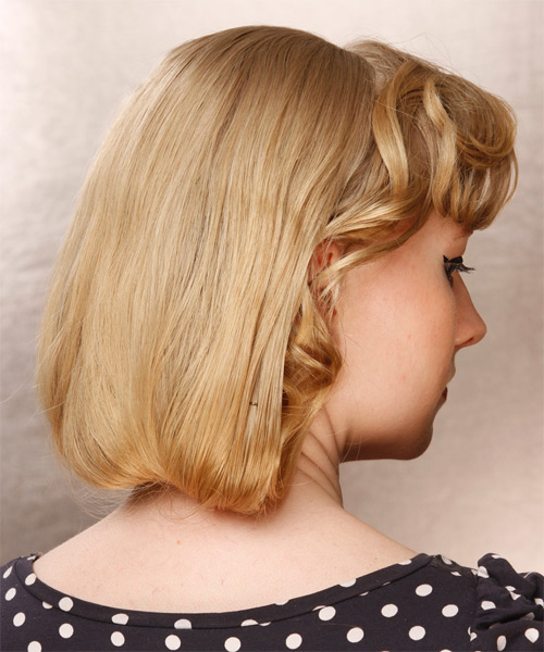 Medium Wavy Formal Wedding  Hairstyle with Side Swept Bangs  - Medium Blonde (Champagne) - Side on View