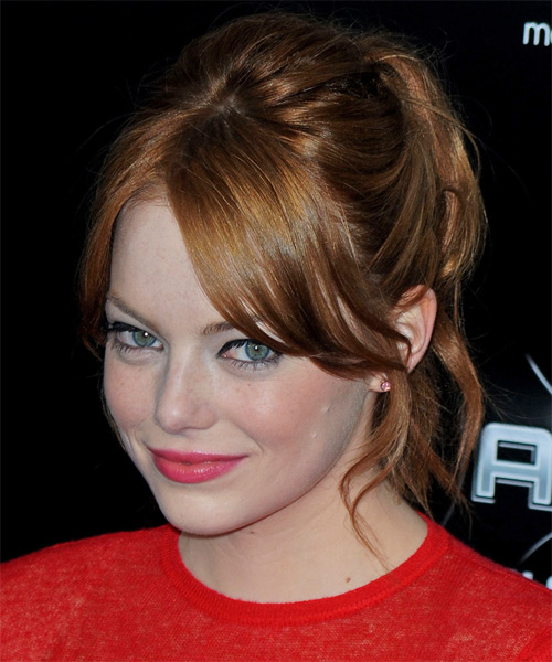 Emma Stone Long Straight Copper Red Updo with Layered Bangs - Hair Color suitable for Cool Skin Tones