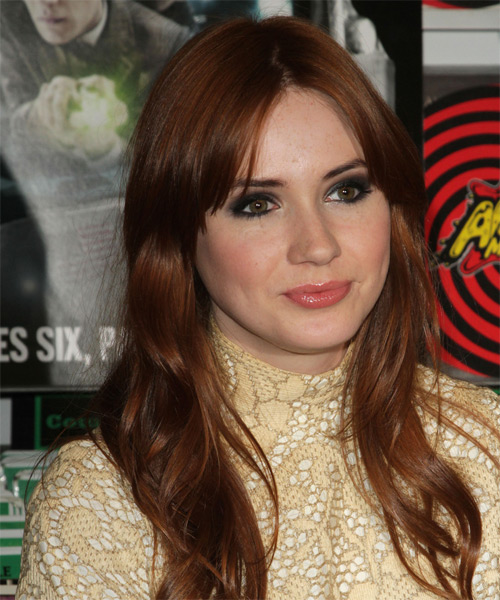 Karen Gillan Long Straight Casual    Hairstyle   - Dark Copper Red Hair Color - Side on View