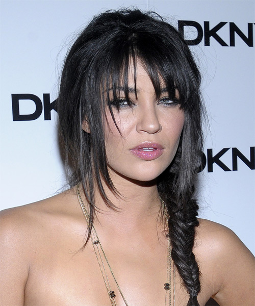 Jessica Szohr Long Black Updo Hairstyle with Layered Bangs and a Fishtail Braid