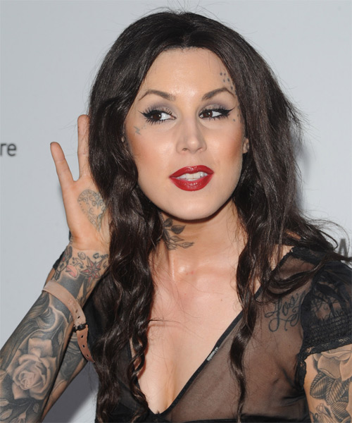 Kat Von D Long Wavy Casual   Hairstyle   - Dark Brunette - Side on View