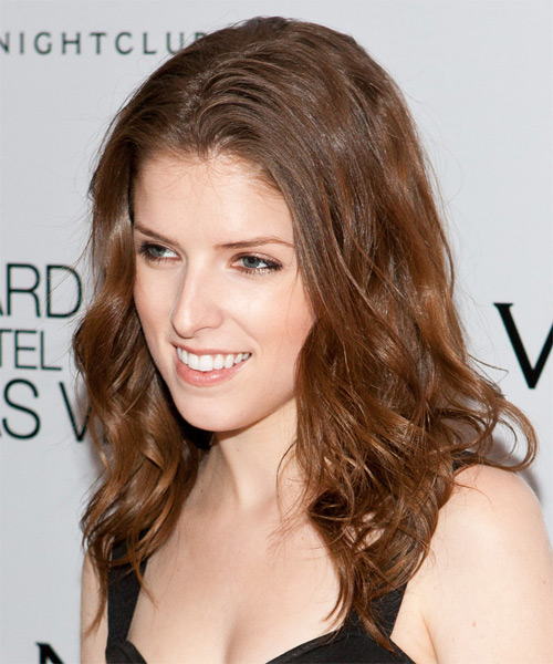 Anna Kendrick Long Wavy Casual    Hairstyle   - Light Chestnut Brunette Hair Color - Side on View