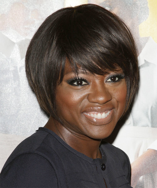 Viola Davis Short Straight Formal Bob  Hairstyle with Side Swept Bangs  - Dark Brunette - Side on View