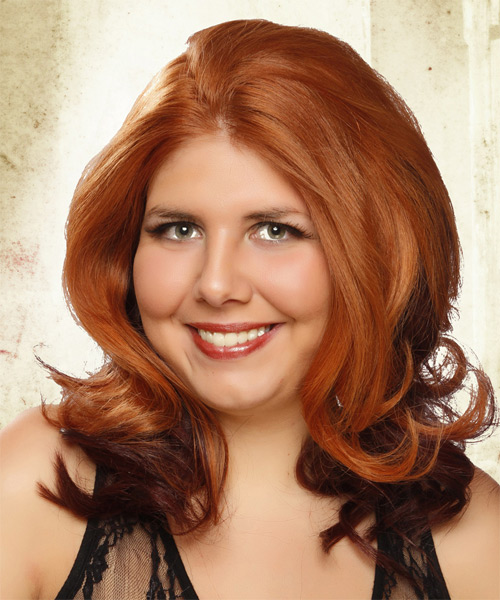 Medium Wavy    Ginger Red and Dark Brunette Two-Tone   Hairstyle   - Side on View