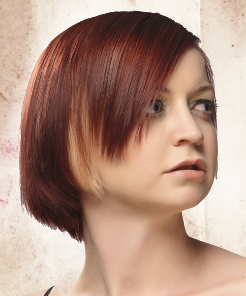 Short Straight Casual   Hairstyle   - Medium Red (Burgundy) - Side on View