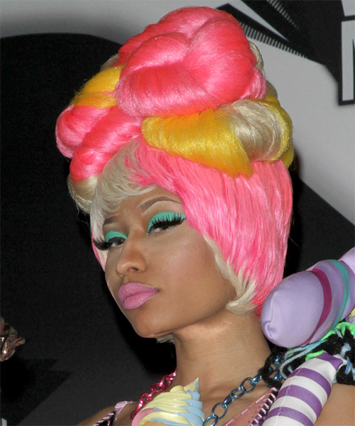 Nicki Minaj Long Curly Alternative  Updo Hairstyle with Layered Bangs  - Light Blonde (Platinum) - Side on View