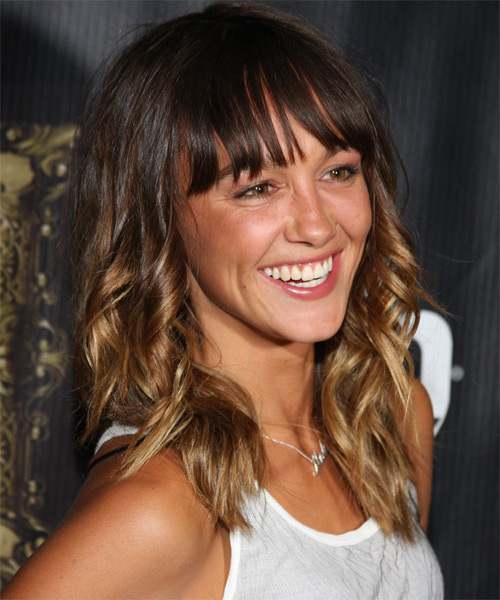 Sharni Vinson Medium Curly Casual   Hairstyle with Blunt Cut Bangs  - Medium Brunette - Side on View