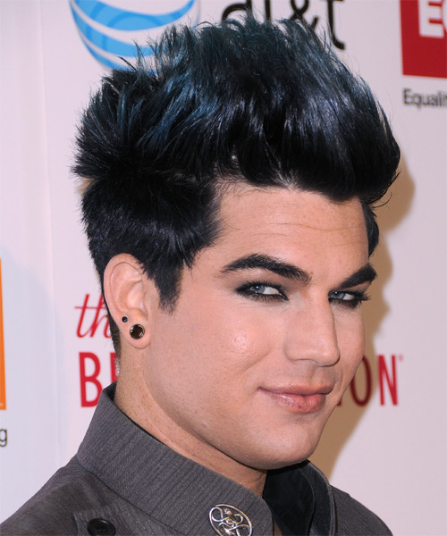 Adam Lambert Short Straight Casual  Emo  Hairstyle   - Black Ash  Hair Color with Blue Highlights - Side on View
