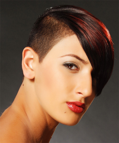 Short Straight   Dark Red Undercut  Hairstyle with Side Swept Bangs  and Dark Red Highlights - Side on View