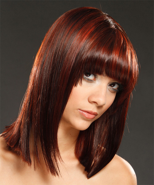 Medium Straight   Dark Red   Hairstyle with Blunt Cut Bangs  and Dark Red Highlights - Side on View