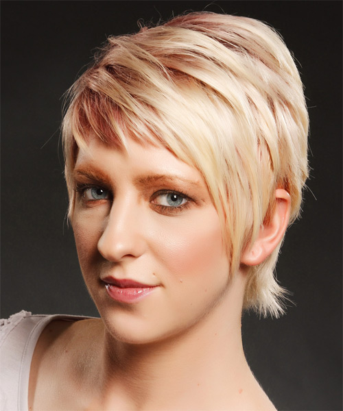 Short Straight Casual    Hairstyle with Side Swept Bangs  - Light Strawberry Blonde and Light Red Two-Tone Hair Color - Side on View