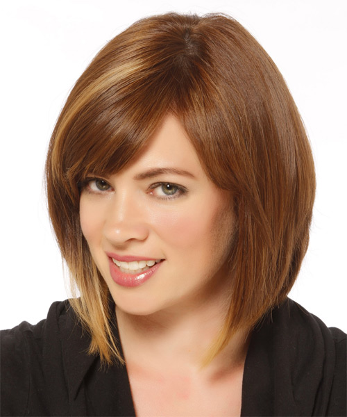 Medium Straight   Light Caramel Brunette Bob  Haircut   with  Blonde Highlights - Side on View