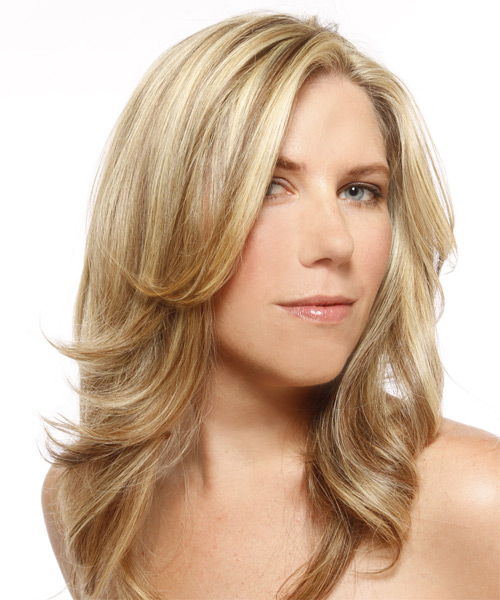 Long Straight Formal   Hairstyle   - Light Blonde (Champagne) - Side on View