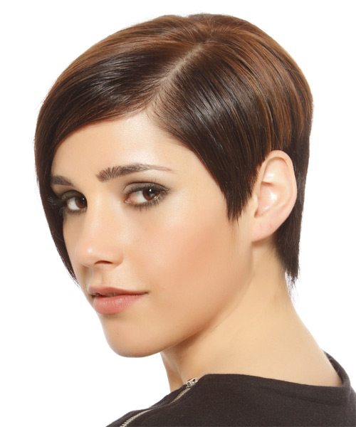 Short Straight Formal  Asymmetrical  Hairstyle   -  Brunette Hair Color with Light Brunette Highlights - Side on View