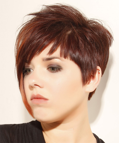 Short Straight    Mahogany Brunette Asymmetrical  Hairstyle with Layered Bangs  and  Red Highlights - Side on View